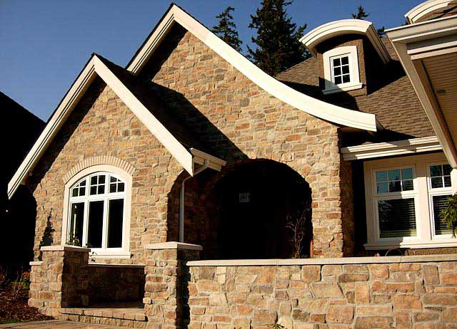 Masonry Services in Cumberland BC - Exterior Stone Faced Wall Installation