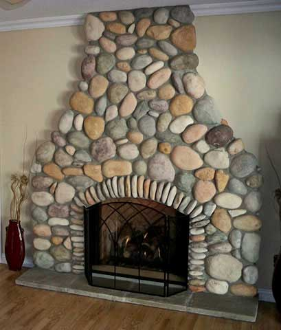 Masonry Services in Cumberland BC - Indoor Stone Fireplace Installation